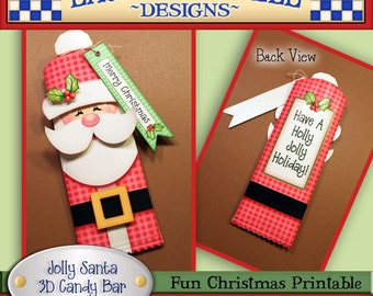 Santa candy bar wrapper, Christmas candy bar wrapper, Printable, Laurie Furnell designs, Hershey bar wrapper, Christmas printables, Digital