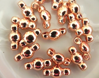 Rose Gold link bead, Double bead, 18 pcs, Metallic link, Silver also available