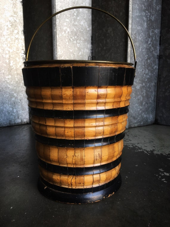Antique peat bucket in fruitwood and ebonized wood ring turned and banded with brass liner and handle