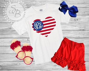 American Flag Heart and Monogram shirt for girls // 4th of July girls Shirt // Patriotic Kids Shirt // Red White and Blue // USA shirt