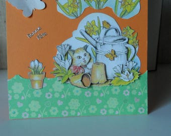 Cards party big day, don't forget March 04 of spring colors for this 3D card