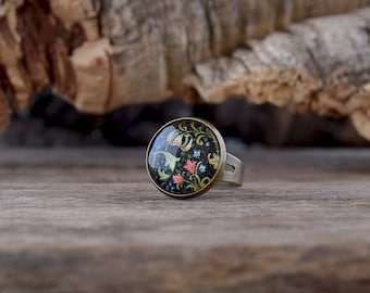 Flowers ring, Colorful ring, Floral jewelry, Picture ring, Glass dome ring, Victorian flowers ring, Antique brass ring, Gift for her FJ 044