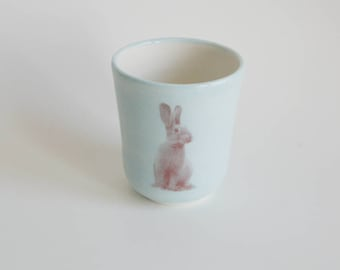 Rabbit Cup Easter Gift Child's Cup Animal Cup Handmade Ceramic Cup Children's Cup Porcelain Cup Children's Tumbler Handmade Pottery Cup