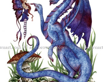 8.5x11 Attitude Dragon and fairy PRINT by Amy Brown