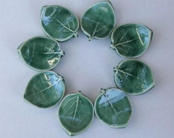 Set of Eight, Ceramic ChopStick/ Pen Rests, Hand Made Leaf, Green