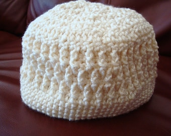 Crocheted Adult Eco Hat of Recycled Materials - Natural Cream 68B