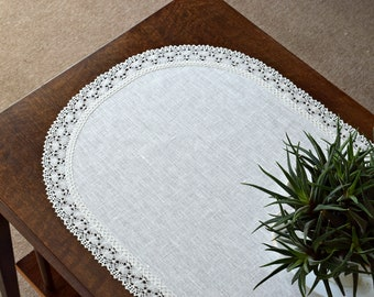 Small white linen tablecloth with lace edging Oval table runner Coffee table topper