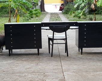 Pair Of Mid Century Modern Black Lacquer Dressers With White Laminate Top  INCLUDES Original Chair