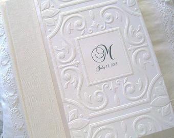 White & Ivory Monogram Wedding Photo Album