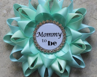 Mommy to Be Pin, Grandma to Be Pin, New Aunt to Be Pin, Nana to Be, Baby Shower Corsage, Aqua Baby Shower Decorations, Aqua, Aqua Blue, Mint