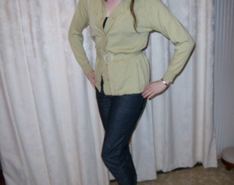 1970s Style Green Belted Glengyle Wool Cardigan