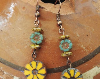 Artisan earrings,flower beads,Rustic Picasso,Table cut,Flat carved,boho,individual,rustic,