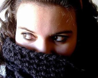 Cowl Neckwarmer Infinity Scarf Wrap in Black