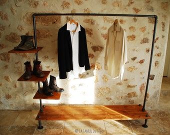 portant v tement avec tag res penderie indus industriel. Black Bedroom Furniture Sets. Home Design Ideas