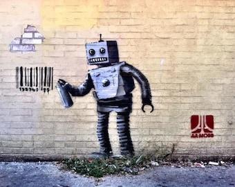 BANKSY Canvas Graffiti Tagging Robot #2 Wall Art Print Gallery Wrapped