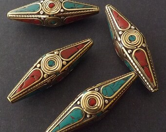 BIG Bicone pendant -55mmX18mm Nepalese Beads with Brass & Coral,Turquoise Inlaid