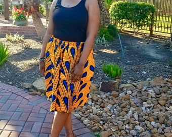 Yellow Blue Skirt Set, Adult African Skirt, Head Wrap, Ladies, African Headwrap, African Clothing, African Skirt, Wax Print, African Print