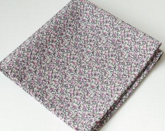 Liberty pocket square - Pepper tana lawn - purple pocket square - purple cotton handkerchief