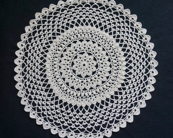 15 inch Shell Hand Crocheted Doily in Cream