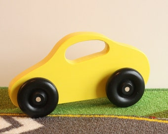 Toy Yellow Car for Baby - Handcrafted Wooden Yellow Toy Car Perfect for Baby and Little Hands - Car with Window Handle - Toddler Toy