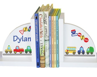Children's Bookends for Boys Custom Cars & Trucks Book Ends Transportation Vehicles Personalized Car Nursery Theme Reading Nook ENDS-223