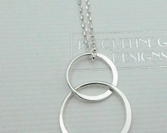 Sterling Silver Double Circle Necklace, Double Circle Pendant, Eternity Necklace, Entwined Circle, Interlocking Circle, UK, choice of chain