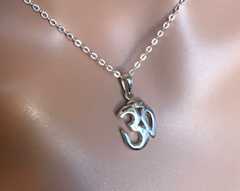 All Sterling Om  Necklace, Zen Yoga Dainty Sterling Jewerly