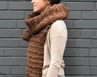 Hand Knit Wool Scarf / Chunky Knit Scarf / Wool Scarf / Knitted Scarf / Oversized Scarf / Women's Scarf / Brown Scarf / EARTH VIBES