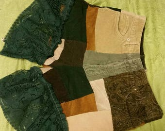 Green/brown corduroy patchwork shorts with lace sz 36-38