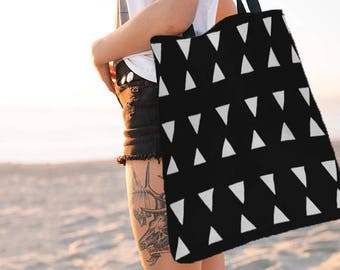 Geometric Tote Bag, Black and White Bag, Totes, Reusable, Beach Bag, Bags, Tote Bags, Tote, Big Tote Bag, Grocery Bag, Shoulder Bag