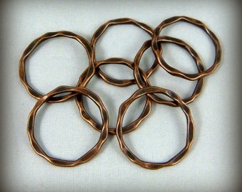 Link, Connector, Ring - Hammered Circle Link (A017-AC) - Antiqued Copper - 22x1.5mm - Qty. 20
