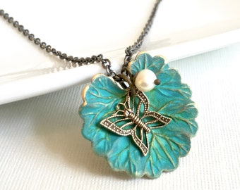 Butterfly Leaf Necklace - Patina Jewelry, Pearl Necklace, Leaf Jewelry, Botanical Jewelry, Turquoise Necklace