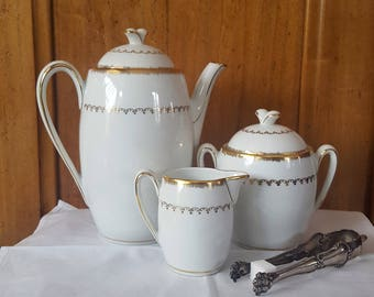 "All edgings ""Nadine"" theriere/coffee pot, large sugar bowl, creamer, gold, French porcelain vintage - french coffee set fine china"
