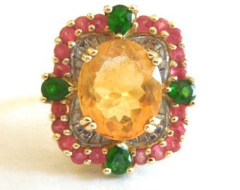 Vintage 14K Yellow Gold Citrine Cocktail Ring