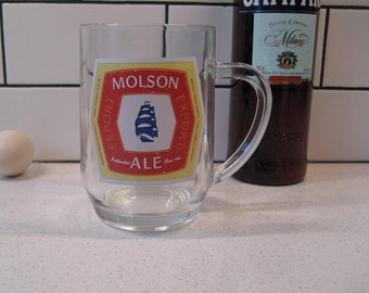 BOGO 40% OFF // Vintage Molson Export Beer Mug - Large & Heavy - Vintage advertising - Great gift idea - Retro graphics - made in France