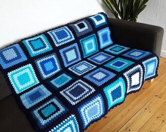Crochet Blanket Blue Blanket Afghan Blanket Crochet Afghan Blue Crochet Blanket Couch Blanket Sofa Blanket FREE SHIPPING