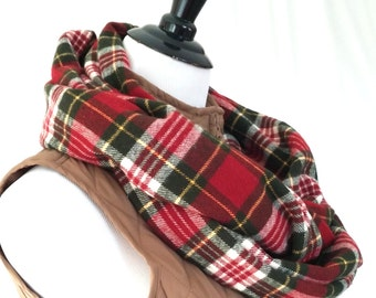 Christmas Red Green White Yellow Plaid Flannel Infinity Scarf. Gorgeous Soft Christmas Scarf.