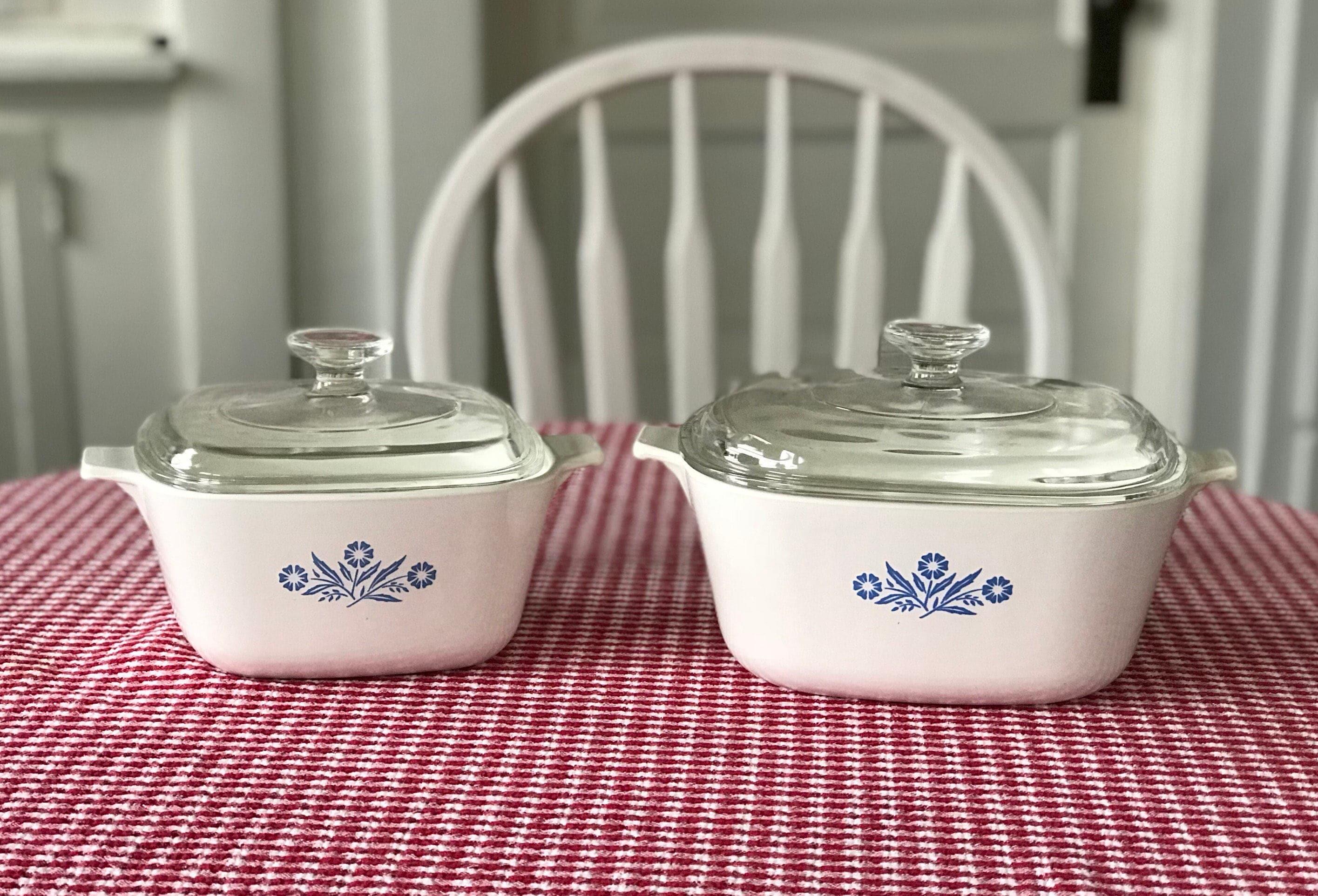 Vintage Corning Ware Blue Cornflower Baking Dishes Square 1 34