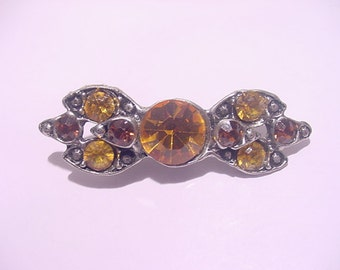 Vintage Yellow Rhinestone Brooch  12 - 17