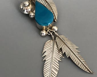 Mexican Sterling silver and turquoise brooch/pendant