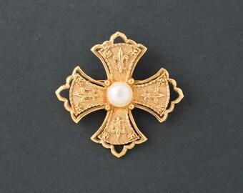 Vintage Maltese Cross with Pearl Brooch