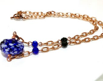Blue Murano style Glass Necklace/ Murano necklace / Blue glass necklace / Hand blown necklace /Copper necklace