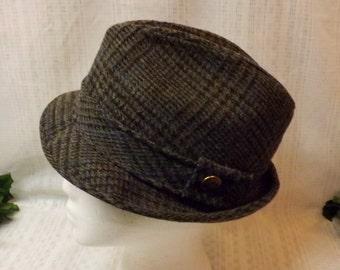 Vintage 70s Mens Fedora Gray Tweed Hat  Size 7