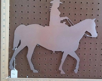 """Metal CNC 16"""" Cowgirl on Horse"""