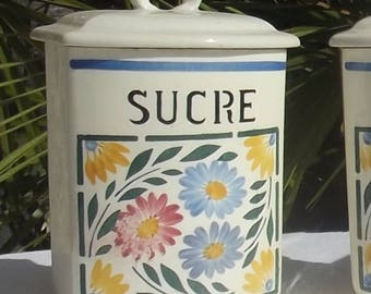 Vintage French 1940s SugarCaddy Antique China Storage Canister Jar Pot sucré