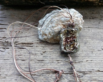 Raku Necklace Gold/copper square Pendant