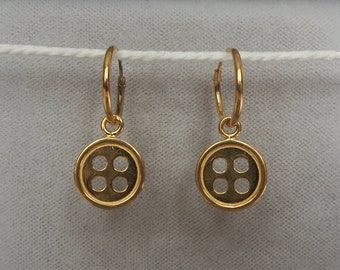 18ct Gold over Sterling Silver Button Hoop Earrings 25mm x 11mm.