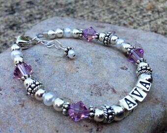 Personalized, Girl Name Bracelet, Children's Bracelet, Custom, Flower Girl Gift, Gift for Birthday, Sterling Silver, Birthstone Bracelet