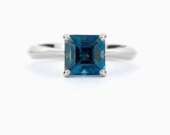 London blue topaz ring, white gold, engagement ring, emerald cut, square, blue engagement, topaz, blue topaz, solitaire, teal wedding ring