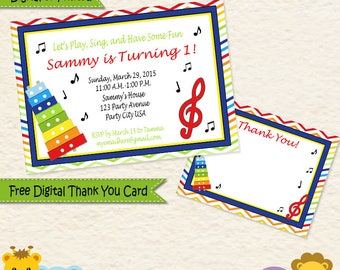 Music Themed Personalized Invitations Thank You Cards Primary Colors Printed and Digital / 014C2